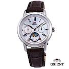 ORIENT 東方錶 SUN&MOON系列 日月相錶 皮帶款 貝殼面-34.8mm
