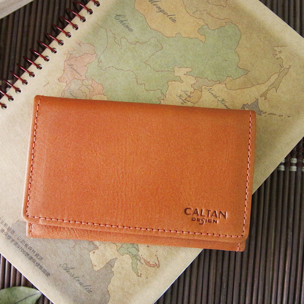 CALTAN - 男女用中性真皮橫式卡片夾名片夾多層卡夾-1801ht-org