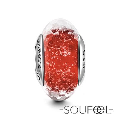 SOUFEEL索菲爾 925純銀珠飾 紅色冰晶 琉璃珠