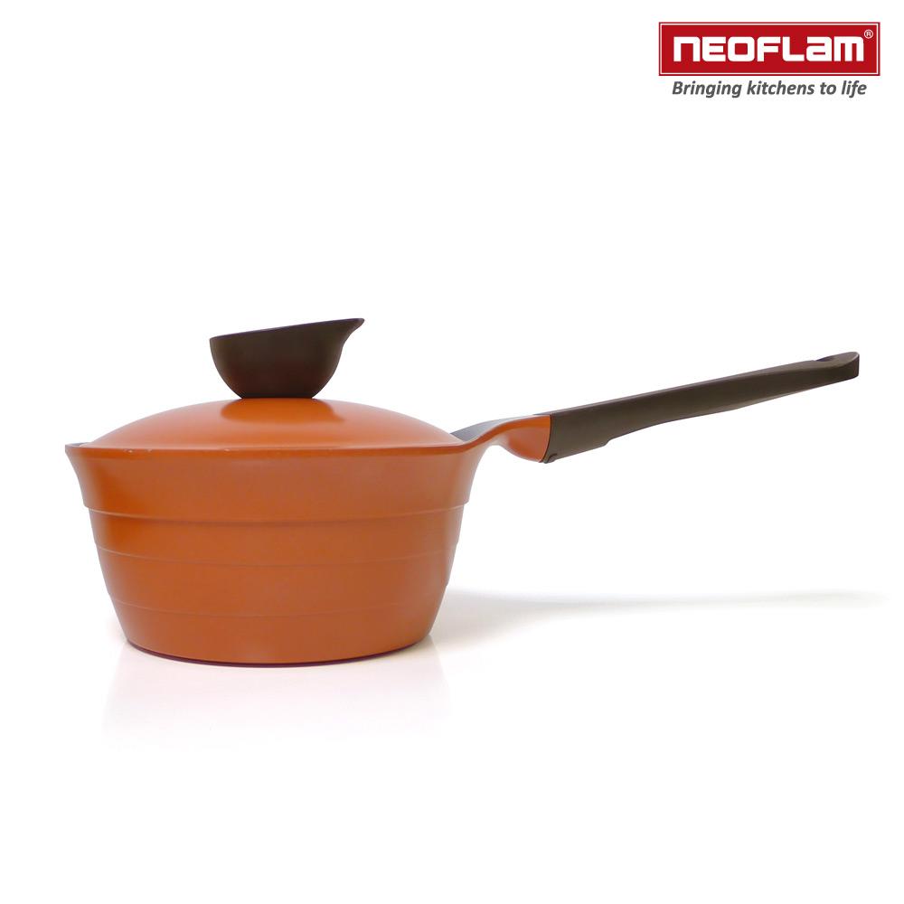 韓國NEOFLAM Eela系列 18cm陶瓷不沾單柄湯鍋+陶瓷塗層鍋蓋(電磁)