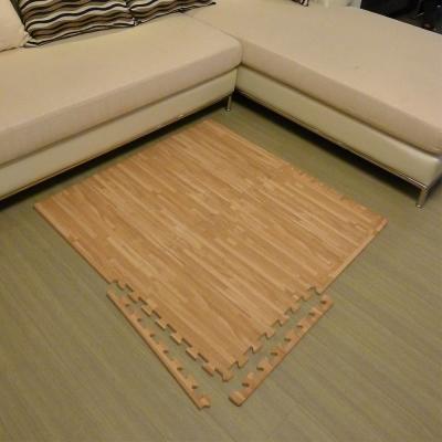【新生活家】EVA耐磨拼花木紋地墊-淺色附邊條45x45x1.2cm12入
