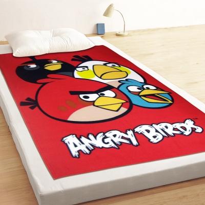 享夢城堡 薄刷毛毯100x150cm-憤怒鳥 飛鳥聚聚樂-紅