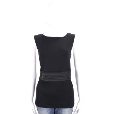FABIANA FILIPPI 黑色條紋拼接設計棉質無袖上衣