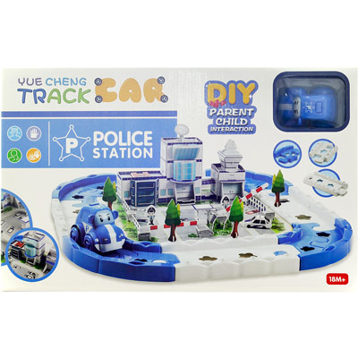 《3D-Track Police Station》益智DIY拼圖3D立體場影軌道車遊戲組