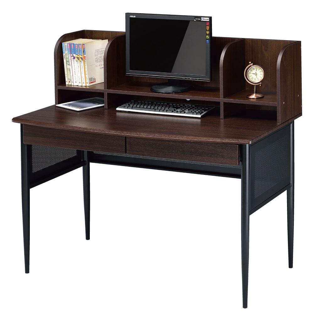 品家居 琴風4尺胡桃色屏風電腦書桌