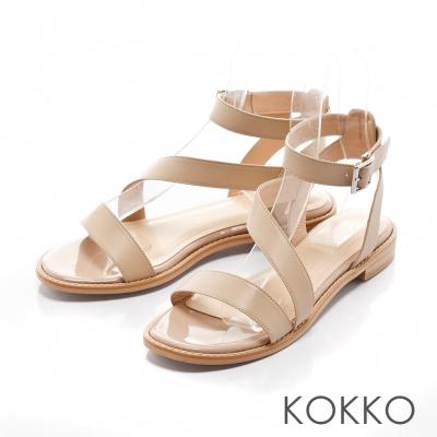 KOKKO-渡假風趣弧形繫帶平底涼鞋 - 奶茶裸
