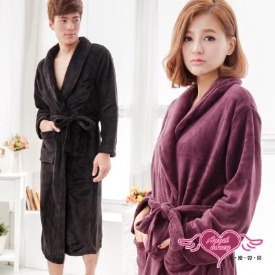 睡袍 浪漫純粹 甜蜜滿分珊瑚絨睡袍(黑or紫紅F) AngelHoney天使霓裳