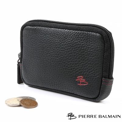 PB皮爾帕門-潮流型男頭層牛皮真皮零錢袋-含鑰匙鍊