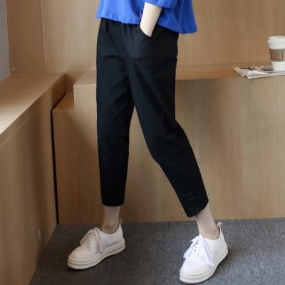 中大尺碼 黑色棉麻寬鬆哈倫褲側口袋七分褲XL~4L-Ballet Dolly