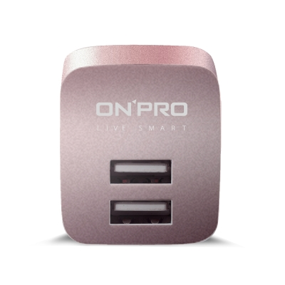 ONPRO UC-2P01 USB雙埠電源供應器/充電器 玫瑰金(5V/2.4A)