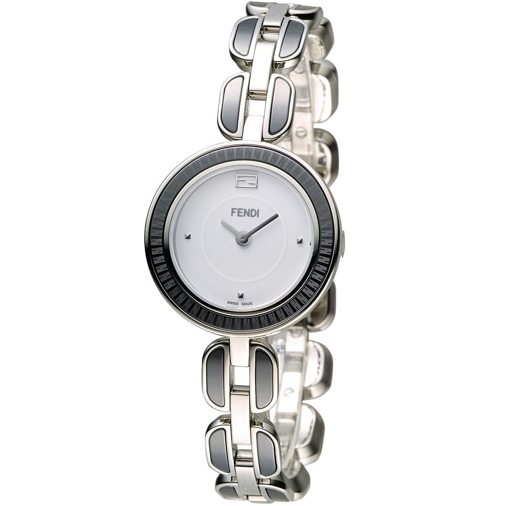 FENDI 芬迪 MY WAY 經典美學時尚腕錶-白x黑/28mm