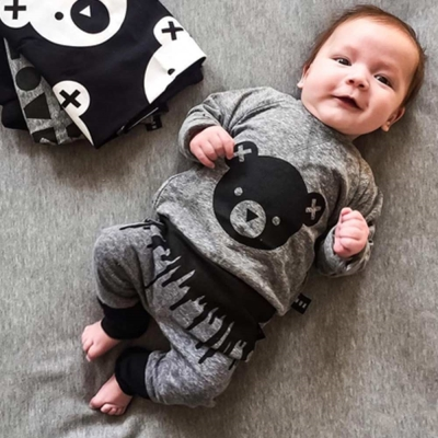 Huxbaby 澳洲 灰黑小熊有機棉長袖上衣