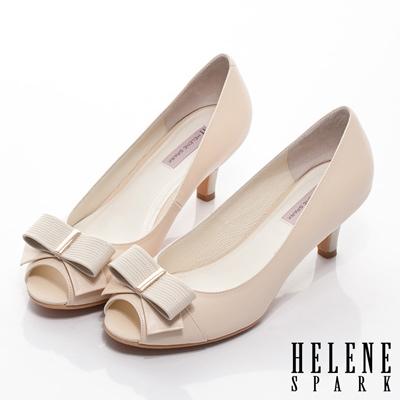 HELENE-SPARK-羊皮蝴蝶結魚口高跟鞋-米