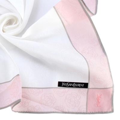 YSL 古典玫瑰邊框純棉帕巾-粉紅色
