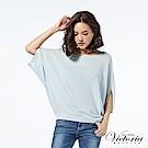 Victoria 寬鬆變化型短袖線衫-女-藍色花紗