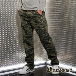 Dreamming 菁英之選戰術迷彩多口袋休閒長褲-綠色