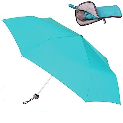 2mm Original拼色通勤輕量手開傘_附拉鍊式吸水傘袋 (海藍)