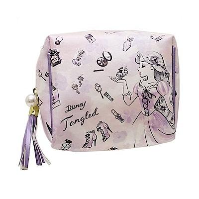 KAMIO  迪士尼公主花繪彩妝系列珠光PU皮革迷你化妝包(長髮公主樂佩)
