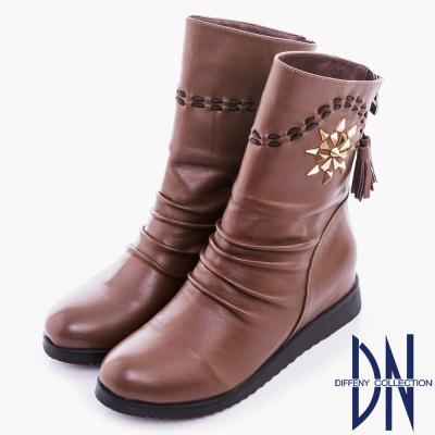 DN 波西米亞風 太陽花造型鉚釘流蘇短靴 咖