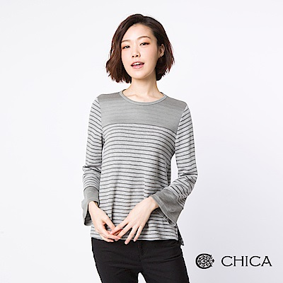 CHICA 俏皮日常純色條紋拼接設計上衣(1色)