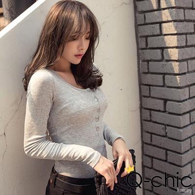 正韓 排釦開襟羅紋長袖T恤 (共二色)-Q-chic