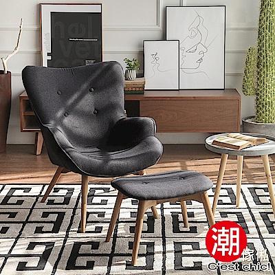 C est Chic_爵士年代復古單人沙發+腳凳