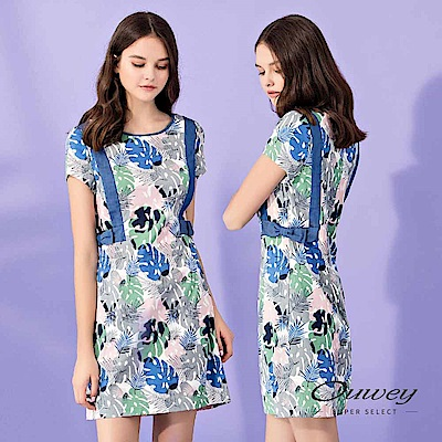 OUWEY歐薇 夏日棕櫚葉印花配色洋裝(藍)
