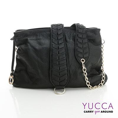 YUCCA 自然葉脈圖騰牛皮肩背包-黑色 D012501