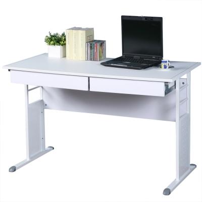 Homelike 巧思辦公桌 亮白系列-白色仿馬鞍皮120cm(附二抽屜)
