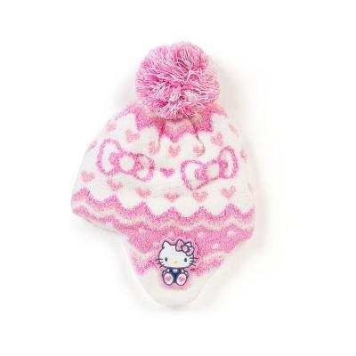 Sanrio HELLO KITTY女童可愛球球保暖針織毛帽(愛心蝴蝶結)