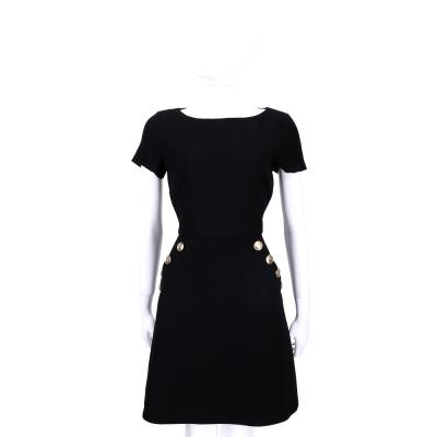 BOUTIQUE MOSCHINO 黑色金釦造型短袖洋裝(100%LANA)