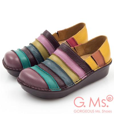 G.Ms. MIT系列-彩虹條紋全牛皮厚底懶人鞋-葡萄紫
