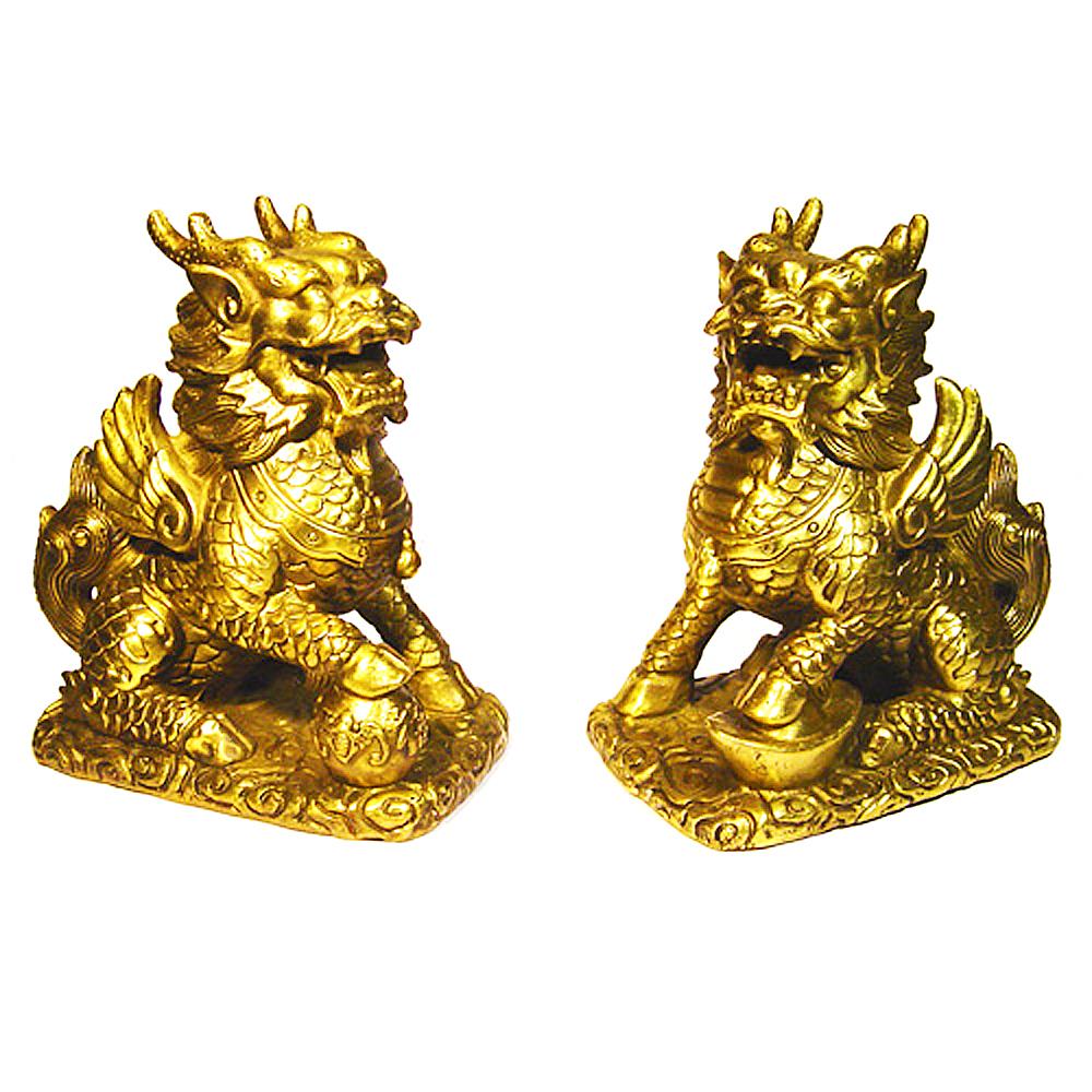 開運陶源  【財福麒麟】(大)銅雕一對