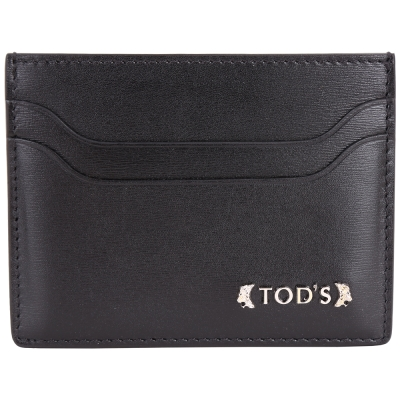 TOD'S Classic 浮刻金屬LOGO小牛皮萬用卡片夾(黑色)