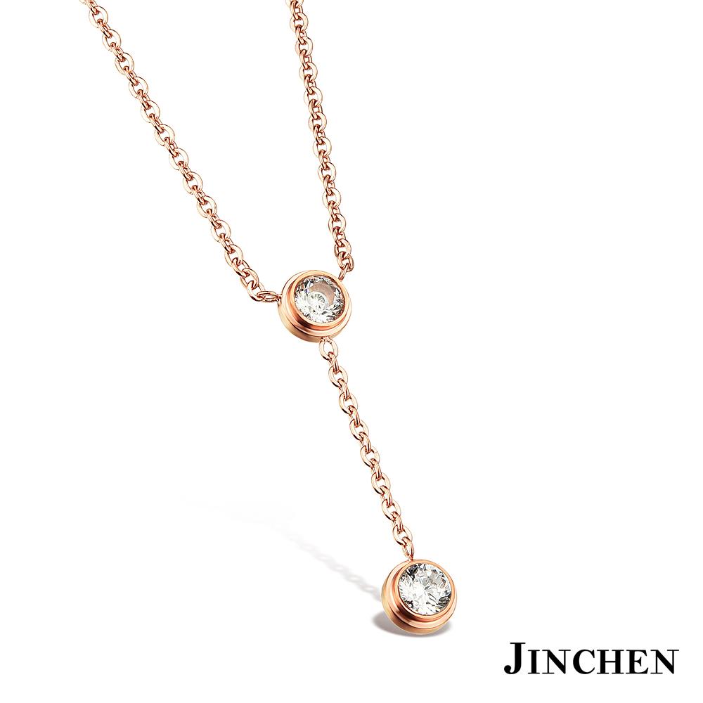 JINCHEN 白鋼單鑽Y字項鍊 product image 1