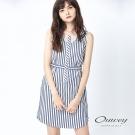 OUWEY歐薇 藍白條紋拼接收腰洋裝(藍)-動態show