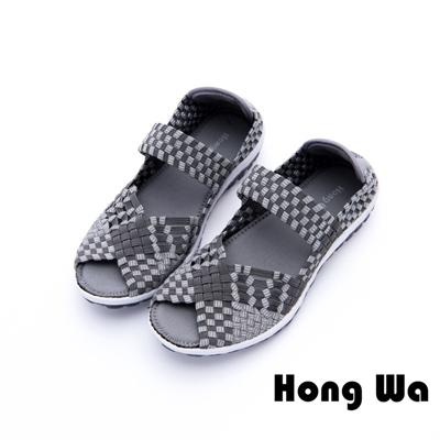 Hong Wa - 運動悠閒編織布懶人便鞋 - 灰