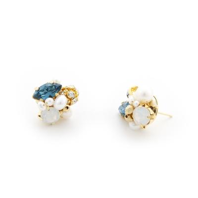 Luce Costante Petit系列水晶珍珠耳環(針式/耳扣式)