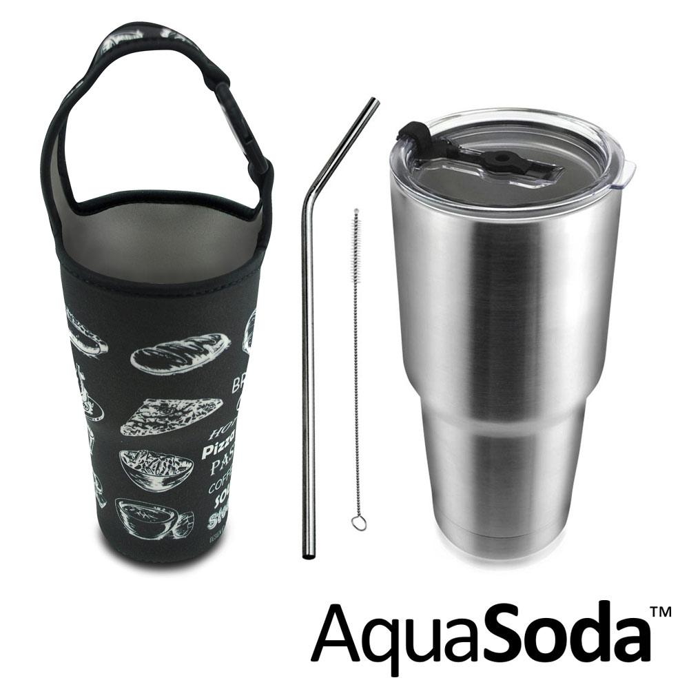 美國AquaSoda 304不鏽鋼雙層保溫保冰杯含提袋超值組合