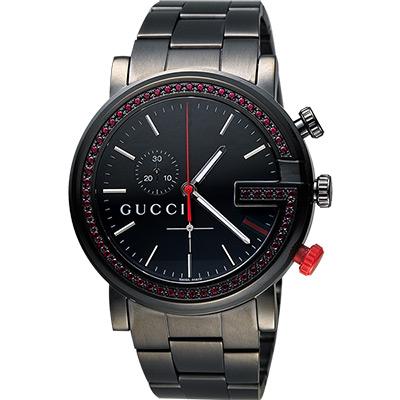 GUCCI G-Chrono 頂尖時尚水晶計時碼腕錶-IP黑x紅水晶框/44mm