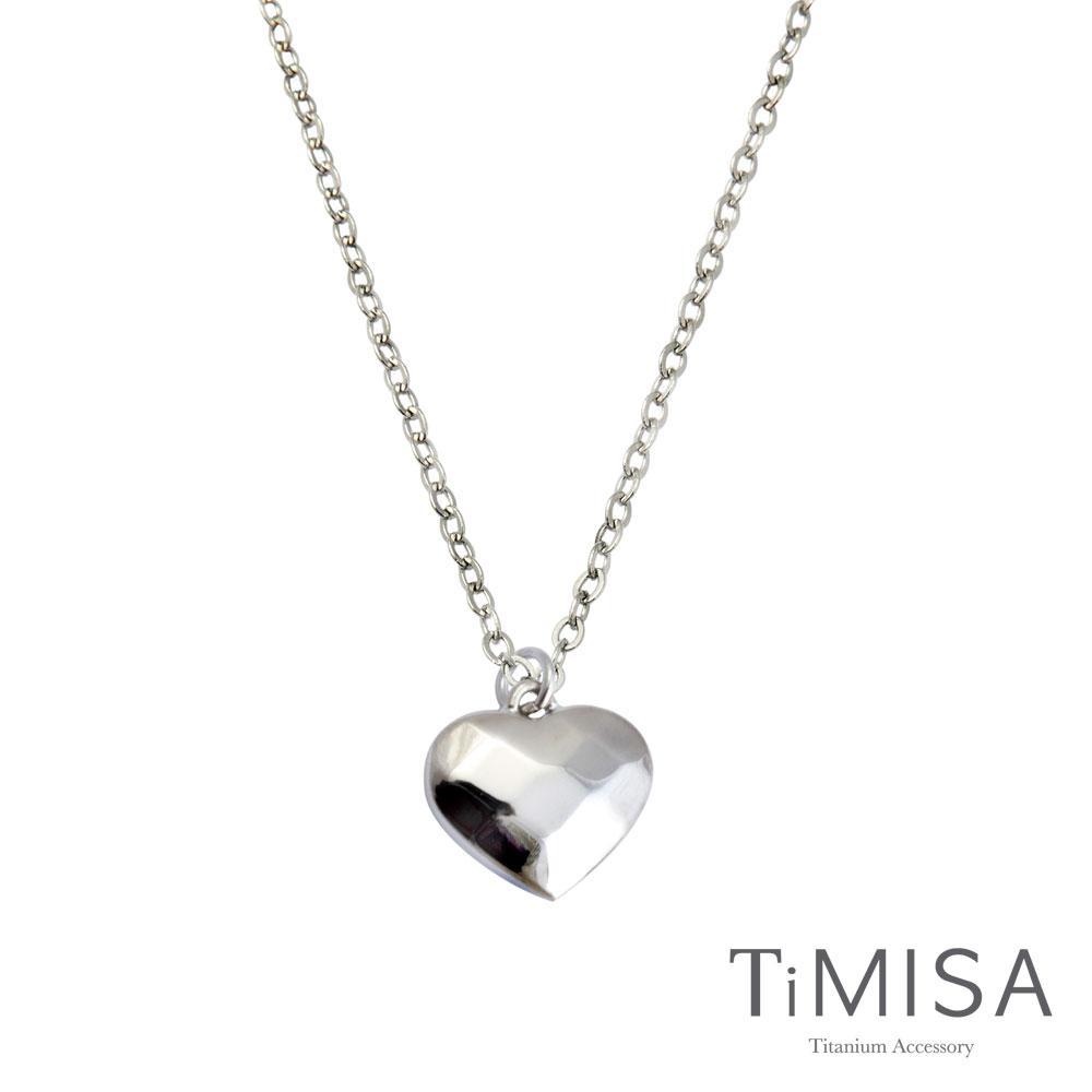 TiMISA《菱格愛心(S)》純鈦項鍊E