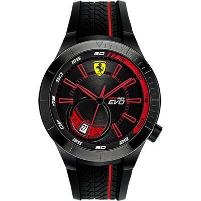 Scuderia Ferrari 法拉利 RedRev Evo 時尚腕錶-黑x紅/46mm