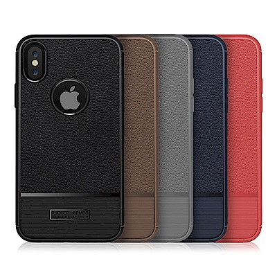 QinD Apple iPhone X 荔枝紋矽膠套