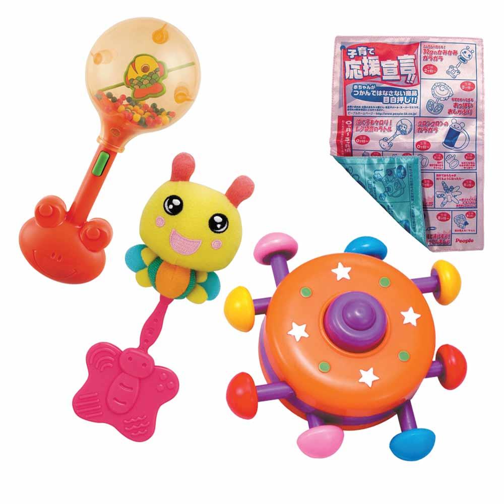 【日本People】小蜜蜂固齒+夾報傳單+彩色飛碟+小青蛙握把沙鈴