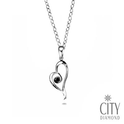 City Diamond【黑色篇章】10分黑鑽石心型鑽石項鍊(白K)