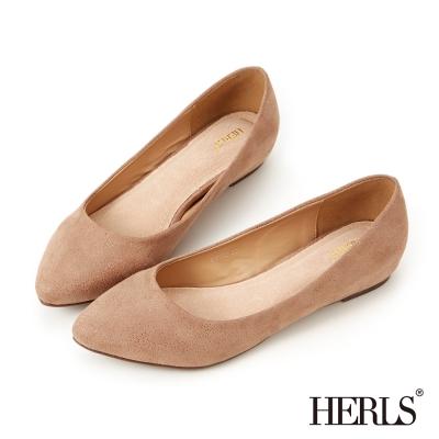 HERLS-內真皮絨布星彩內增高楔型鞋-粉色
