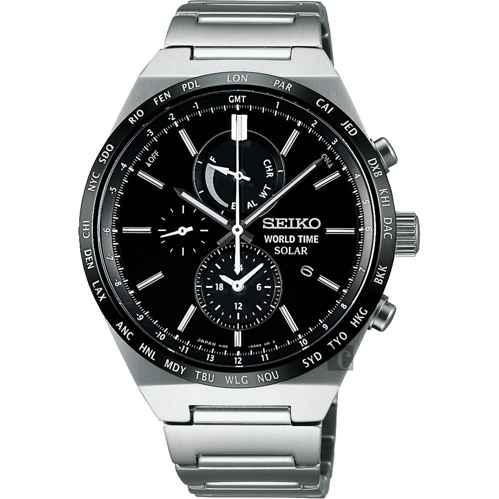 SEIKO 精工 SPIRIT 太陽能兩地時間計時腕錶(SBPJ025J)-黑/41mm