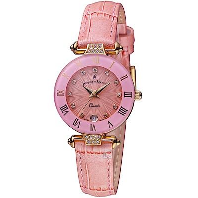 Jacques du manoir彩虹系列時尚復古腕錶(R-BPS 粉紅)