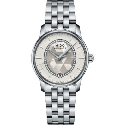 MIDO美度 Baroncelli 永恆系列晶燦鑲鑽女錶-珍珠貝x銀/34mm