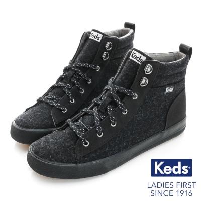 Keds 時尚復古運動高統綁帶休閒鞋-黑色